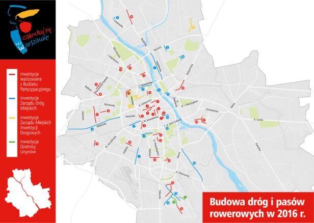 Inwestycje rowerowe UM Warszawa