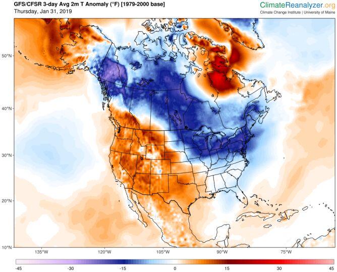Trzydniowa prognoza odchylenia temperatury od średniej wieloletniej (climatereanalyzer.org)