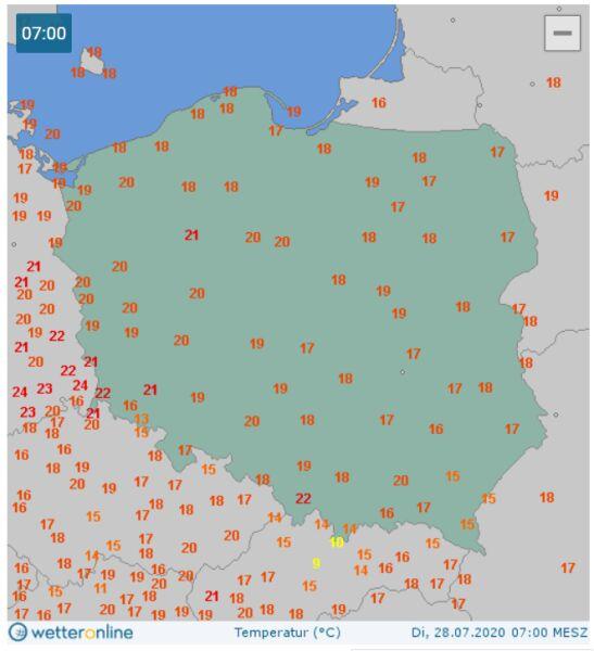 Temperatura o godzinie 7 w Polsce (wetteronline.de)