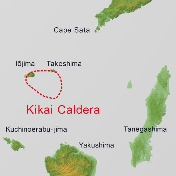 Położenie kaldery Kikai