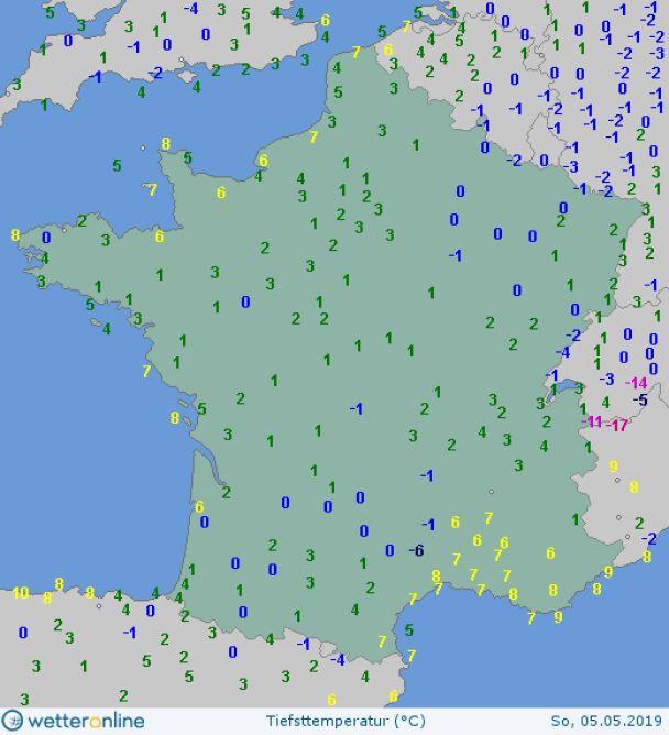 Najniższe temperatury we Francji w niedzielę (wetteronline.de)